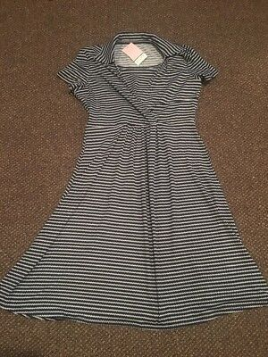 Dote Womens Maternity and Nursing Dress  Navy White Size Medium - NWT