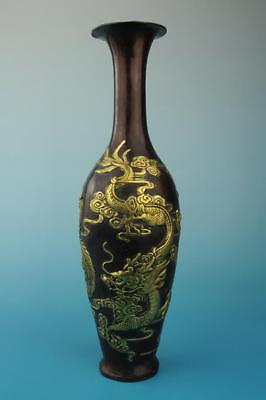 Antique china hand made gilding copper dragon and phoenix vase old collect e01