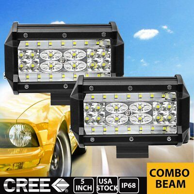 "Pair 5"" 168W LED Work Light Bar Flood Combo Pod Driving Off-Road Tractor 4WD 12V"