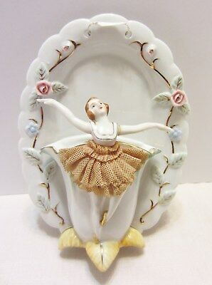 Vintage Porcelain Ballerina Wall Pocket or Table Top Planter Vase Japan