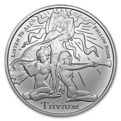 1 oz. Solid Silver -TRIVIUM GIRLS -.999 Pure/Solid Silver Shields Round NEW 2018