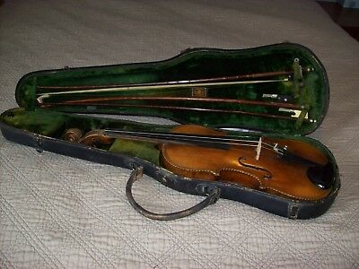 Antique 19th Century German Saxon Violin with Abalone Inlay