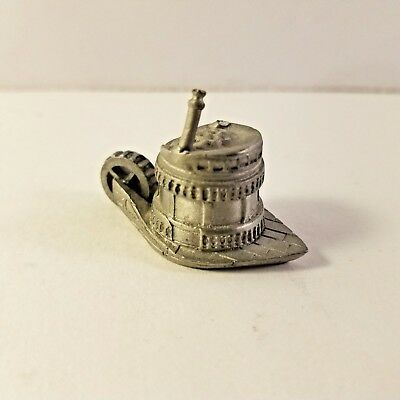 Pewter Thimble Steam Boat With Moving Paddlewheels Made In England