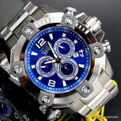 Invicta Reserve Grand Octane Arsenal Swiss Mvt 63mm Blue Silver Tone Watch New