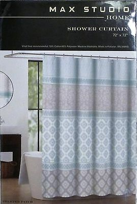 Max Studio Stamped Patch COTTON Blend Fabric Shower Curtain PASTEL 72x72 NEW