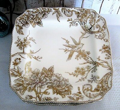 4) 222 FIFTH ADELAIDE GOLD Holiday Festive DINNER PLATES Floral ...