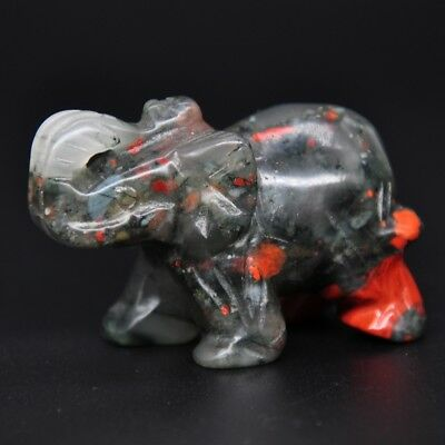 """1.9"""" Elephant Figurine Natural Blood Stone Lucky Carving Healing Home Decor Gift"""