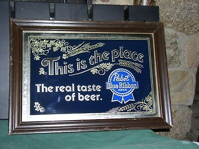 "Vint Pabst Blue Ribbon Beer P-2618 WOOD FRAMED MIRROR LARGE 20 ""x 14"" VRYGD++"