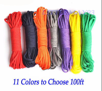 100ft 7 Strand Core Cord 550 Paracord Parachute Rope Lanyard TYPE III Durable UK