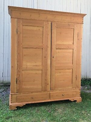18th 19th century English Country Scrubbed Pine Armoire