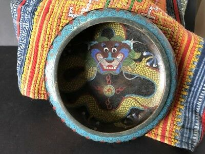Old Chinese Cosamine Yellow Dragon Bronze / Brass Bowl …beautiful display piece.