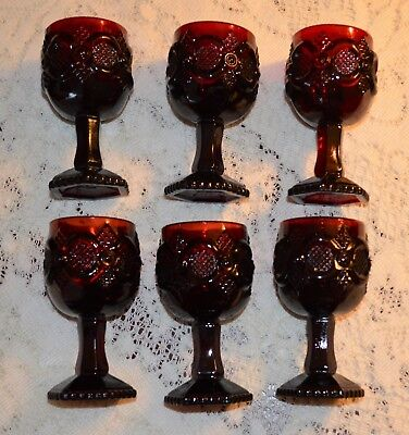 """Avon 1876 Cape Cod Collection  Wine Glasses (4½"""" Tall)  - Ruby Red Set Of Six"""