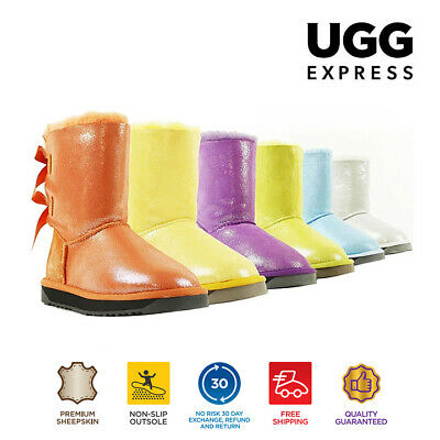 Short back bow glitter UGG Boots, Genuine Sheepskin, Non Slip Rubber Sole