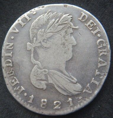 2 REALES 1821 Zs AG ZACATECAS,WAR OF INDEPENDENCE KM#93.4