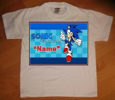 Sonic Hedgehog Personalized Birthday Party Gift T-Shirt - NEW