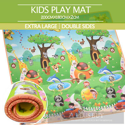 3x1.8m Extra Large Baby Toddler Crawling Play Mat Animal Alphabet 20mm Thick CE