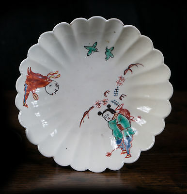 Chantilly lobed saucer, Kakiemon pattern with two Chinese boys, c. 1740