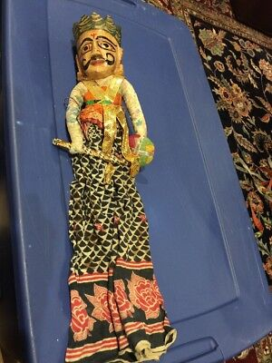Vintage Hand Crafted Thai Wooden Puppet-Hand Painted 2 faces- Made In India