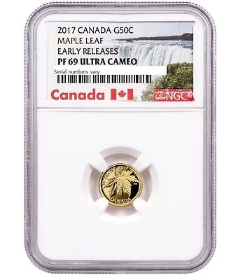 2017 Canada Maple Leaf 1/25 oz. Gold Proof 50c NGC PF69 UC Early Releases.