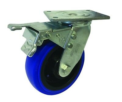 Easyroll BLUE ELASTIC RUBBER SWIVEL PLATE & BRAKE CASTOR 150mm 300Kg Load