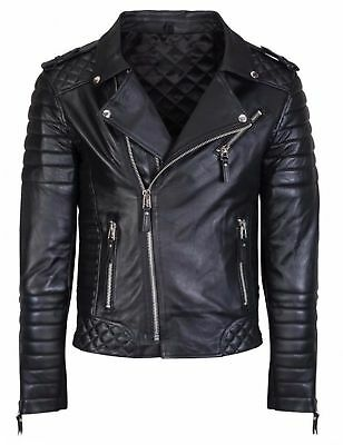 Men's Diamond Quilted Kay Michael Soft Leather Black Slim Fit Biker Jacket