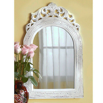 Weathered Wood Wall Mirror Vintage Distressed Arch White Wooden Shabby Chic