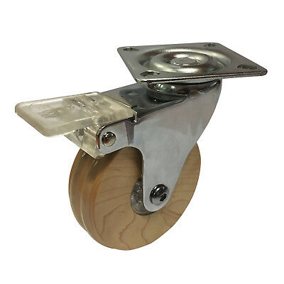 Easyroll MAPLE WHEEL SWIVEL PLATE WITH BRAKE CASTOR 75mm 40Kg Load Capacity