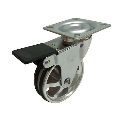 Easyroll ALUMINIUM WHEEL SWIVEL PLATE & BRAKE CASTOR 75mm 45kg Load Capacity