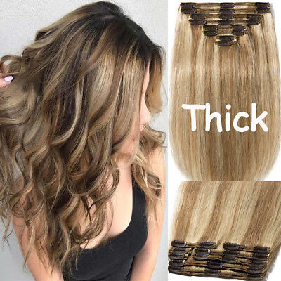 100% REMY HUMAN HAIR EXTENSIONS THICK CLIP IN SKIN DOUBLE WEFT Black Blonde AU