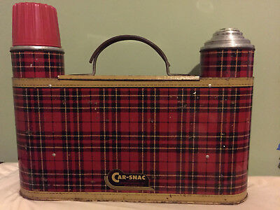 Car-Snac Vintage Picnic Accessory 1950's Red Plaid Metal w/2 Thermoses