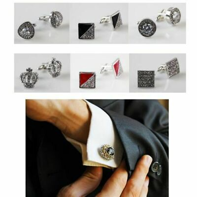 CUFFLINKS Mens Shirt Wedding Cuff Links Metal Square Rectangle SILVER BLACK GOLD