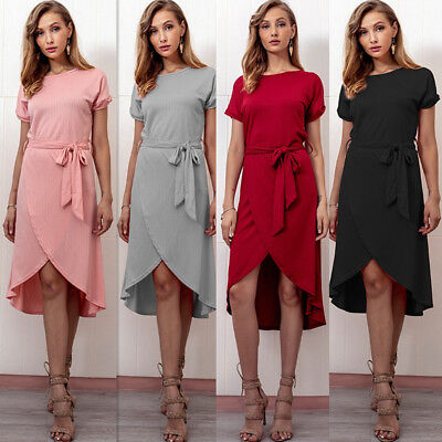 UK Womens Short Sleeve Casual Rib Belt Dress Ladies Party Evening Wrap Sun Dress
