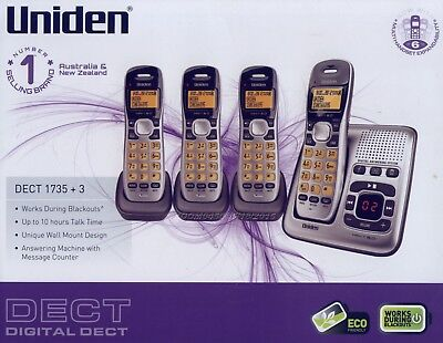 Uniden Dect 1735+3 Digital Cordless Phone 4 Handsets Power Failure Back Up New