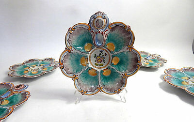 French Antique Oyster Plate Hand Painted by Keller, Guerin et St Clement c.1900