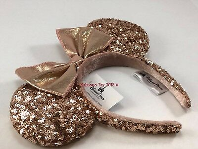 New Rose Gold Minnie Mouse Ears Headband with Bow Minnie Mouse Ear Hat SequinNWT