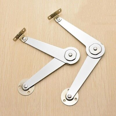 2X Metal Furniture Cabinet Lid Support Hinge Stay Pair - Silver Tone 5'' 9''