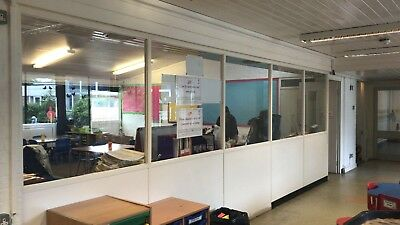 Glass Panel Office Dividers - Toughened Glass Wall Partitions & 1 door