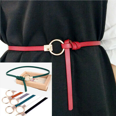 New Women Lady Girl Dress Strap Skinny Waist Belt Thin Leather Narrow Waistband