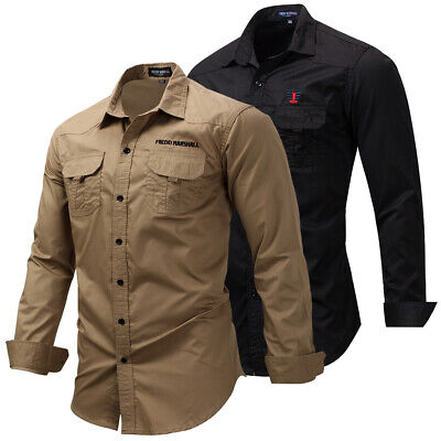 New Men's Classic Plain Shirt Long Sleeve Double Pocket Casual Shirts Sport Top