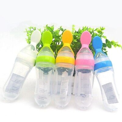 Baby Silicone Squeeze Feeding Bottle With Spoon Food Rice Cereal Feeder Tool