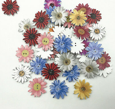 25pcs Flowers Wooden Buttons Sewing Scrapbooking decoration Mix color 26mm