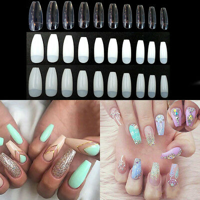 500 Pcs Long Ballerina Coffin Shape Half Cover False Nail Acrylic Nails Art Tip