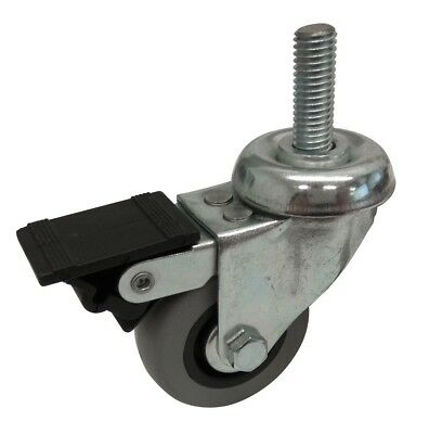 Easyroll GREY RUBBER SWIVEL PLUS BRAKE CASTOR +M10 Bolt- 50mm, 75mm Or 100mm