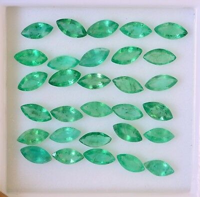 Natural Emerald Marquise Cut 6x3 mm Lot 20 Pcs 4.43 Cts Lustrous Green Gemstones
