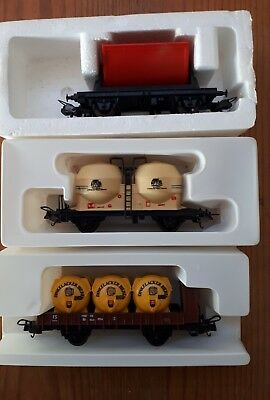 3 x Lima single axle freight wagons. Various. HO scale. Boxed