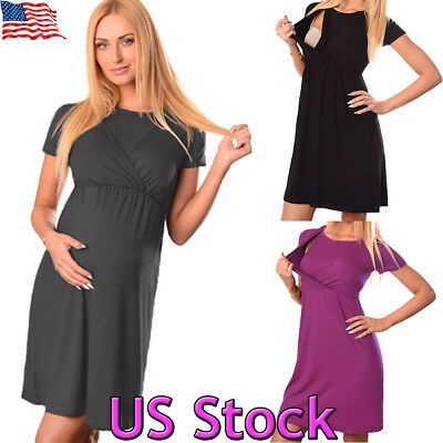 Women's Maternity Dress Casual Pregnancy Clothes Nursing Breastfeeding Plus Size