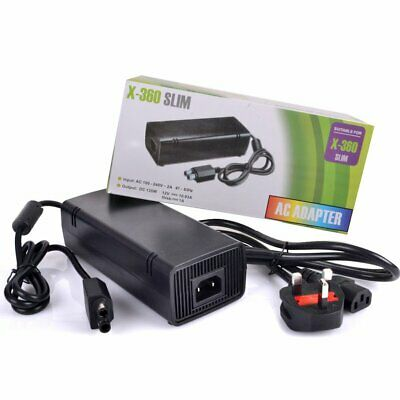 New AC Brick Adapter Power Supply for Xbox 360 Slim UK Mains Charger Cable 135W