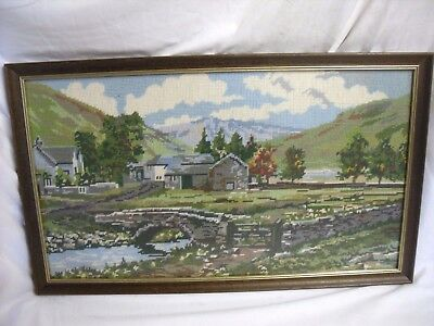 "Vintage CROSS STITCH Tapestry FRAMED Countryside THE LAKES Scene 25.5"" WALL Art"