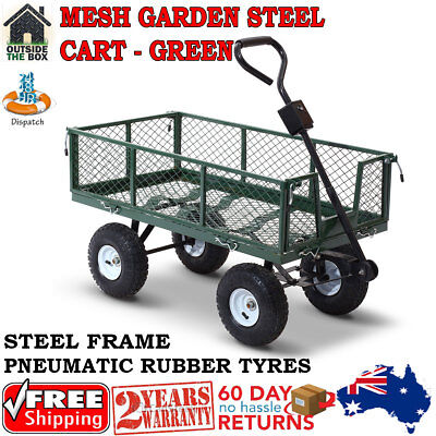 Mesh Garden Steel Cart Outdoor Trailer Wagon Wheelbarrow Yard Tipping-Green