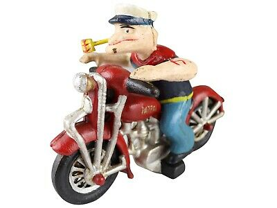 Popeye the Sailor Man on Red Motorcyle - Cast Iron Ornament Figure